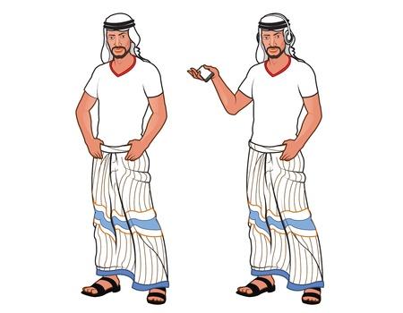 hombre arabe: Apuesto hombre joven árabe Vectores