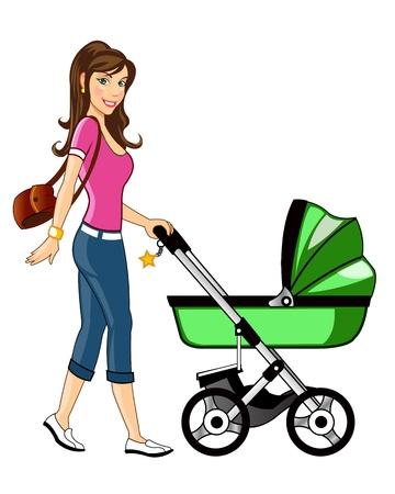 Madre hermosa camina a su bebé en bebés Cesta