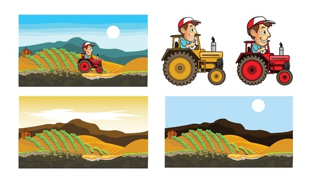 Farmer Drive Tractor in Farm Game Art Vector