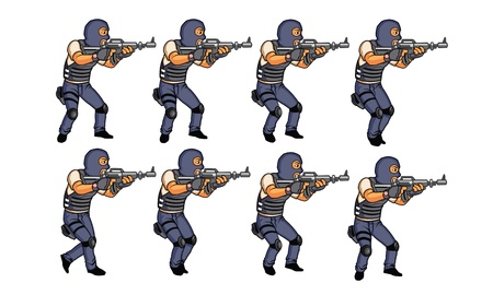 SWAT walking animation sprite Illustration
