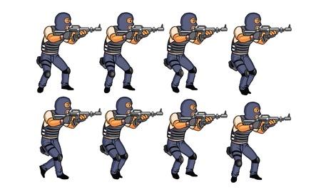 swat: SWAT walking animation sprite Illustration