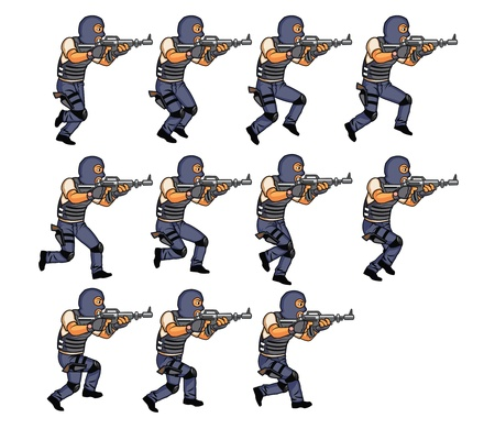 sequence: SWAT running animation sprite Illustration