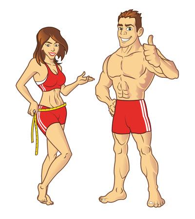 muscle cartoon: Fitness Models