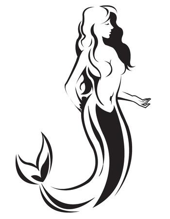 Mermaid Silhouette Çizim