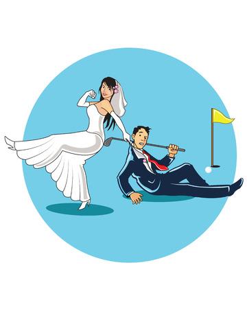 deportes caricatura: Casarse con Golfista