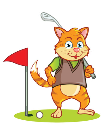 Golf Cat Cartoon Illustration