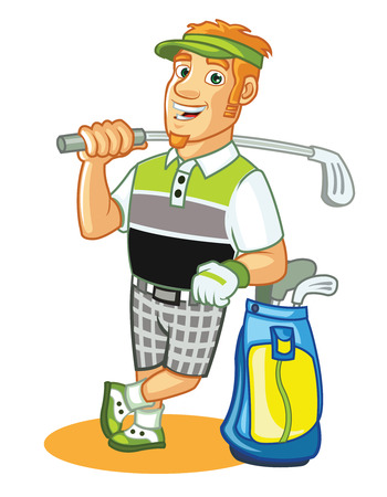golf stick: Golfer Cartoon