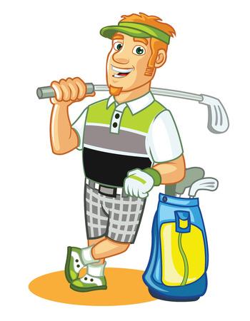 golf stick: Golfista de la historieta Vectores