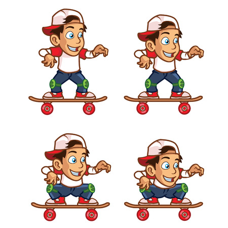 Skater Boy Lowering His Body Animation Sprite Vettoriali