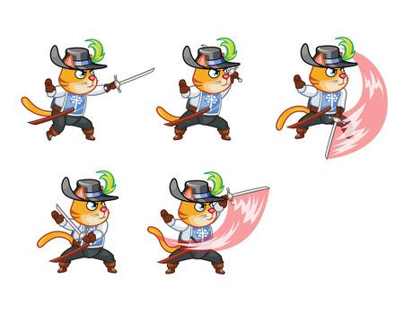 Musketier Cat Aanvallen Sprite