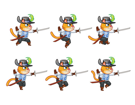 Musketeer Cat Running Sprite Иллюстрация