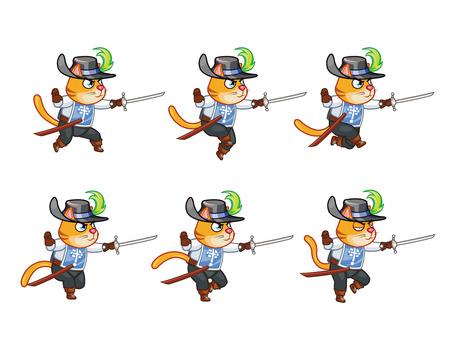 Musketeer Cat Running Sprite Illustration