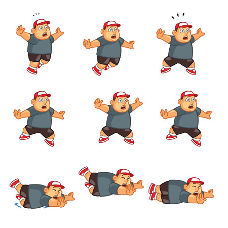 Vector Illustration of Funny Chubby Boy Falling Sprite for Game or Animation Illustration
