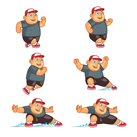 Vector Illustration of Funny Chubby Boy Sliding for Game or Animation Çizim