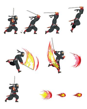 sprite: Atacar Ninja Juego Sprite Vectores