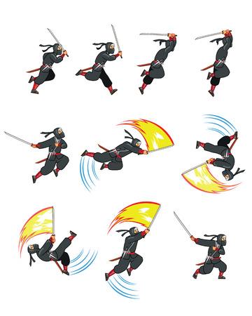 attacking: Atacar Ninja Juego Sprite Vectores