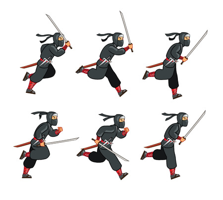 sprite: Running Ninja Game Sprite Illustration
