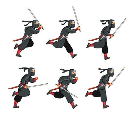 Running Ninja Game Sprite Illustration