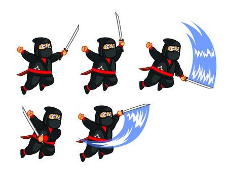 Fat Ninja Attacking Sprite Vector