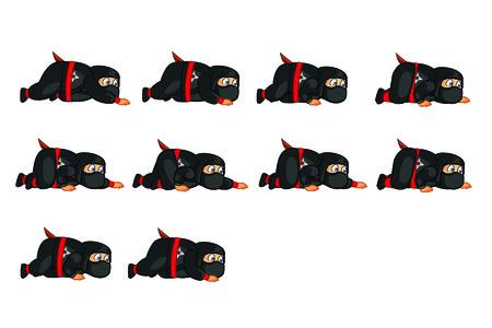 Fat Ninja Crouching Sprite Vector