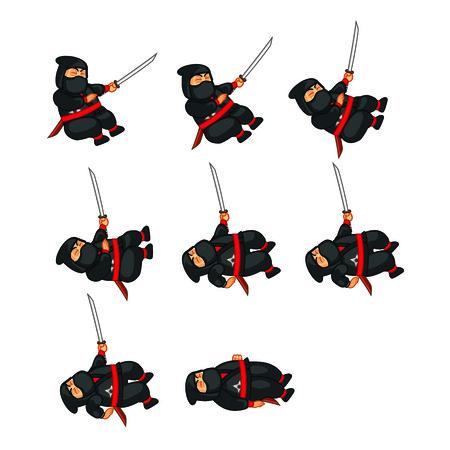 Fat Ninja Dying Sprite Vector