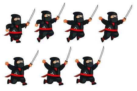 Fat Ninja Jumping Sprite Vector