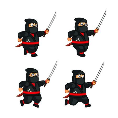 Fat Ninja Running Sprite Vector