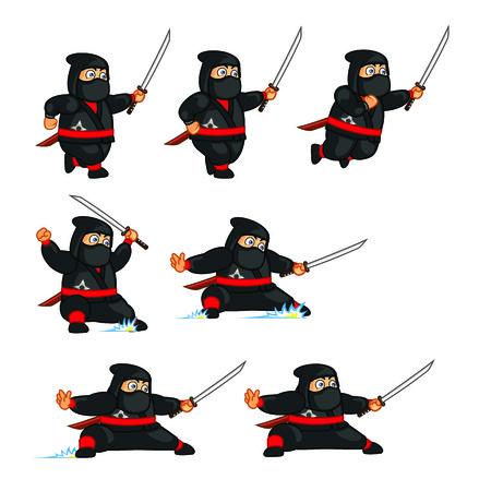 Fat Ninja Sliding Sprite Vector