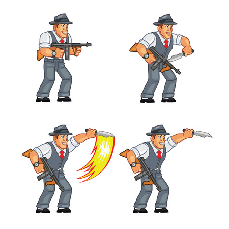 sprite: Mobster knife Attacking Sprite Illustration