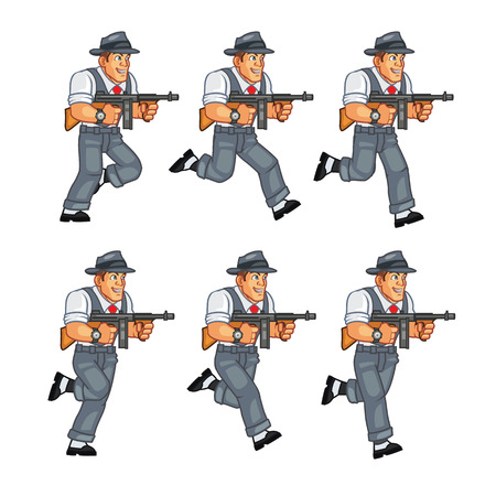 mobster: Mobster Running  Illustration