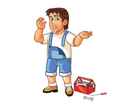 careless: Careless Technician cartoon Illustration