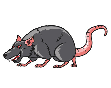 devious: Vector Illustration of Devious Rat Cartoon