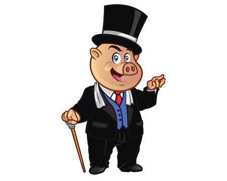 millionaire: Rich Pig Cartoon Mascot