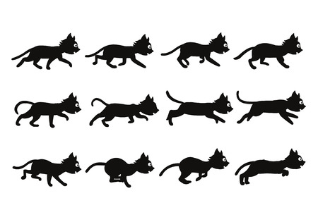 Vector Illustration of Black Cat Sequence for Animation or Game Project Illustration