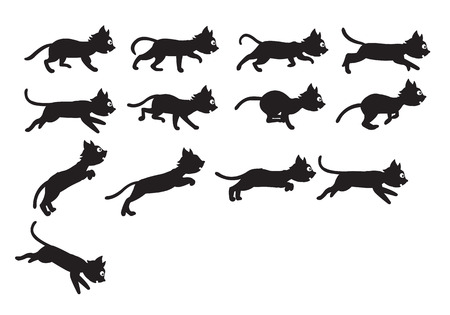 pussy cat: Vector Illustration of Black Cat Sequence for Animation or Game Project Illustration