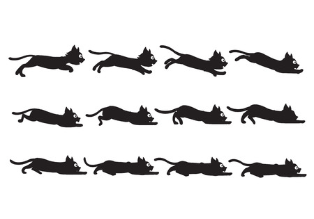 scrolling: Vector Illustration of Black Cat Sequence for Animation or Game Project Illustration
