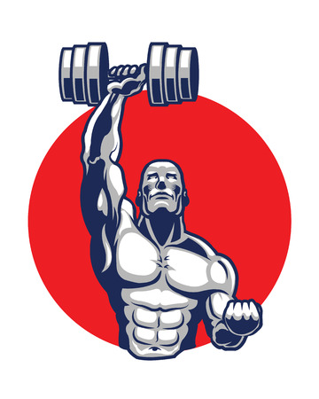 health and fitness: Body Builder Icon Logo