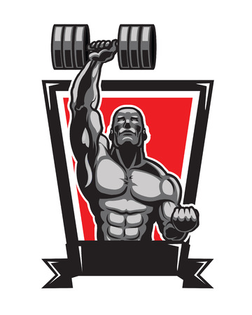 fit body: Body Builder Logo Illustration