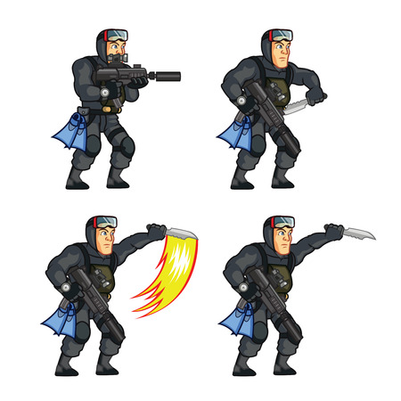 sprite: Navy Seal Knife Attack Sprite Illustration