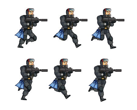 sprite: Navy Seal Running Sprite Illustration