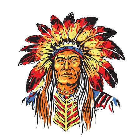 indian chief mascot: Indian Chief Cartoon