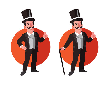 aristocrat: Old Aristocrat Flat Cartoon