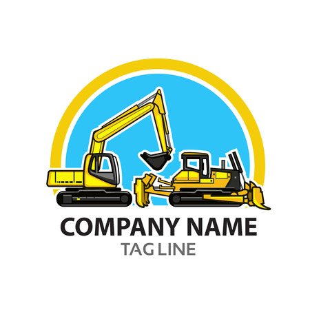 excavator: Construction Logo