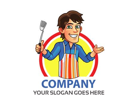 logo de comida: Cocinar Hombre Logo