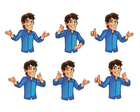 gestures: Young Man Gestures Illustration
