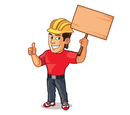 helpers: Handsome Construction Worker Illustration