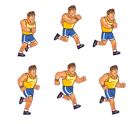marathon runner: Marathon Runner Animation Sprite Illustration