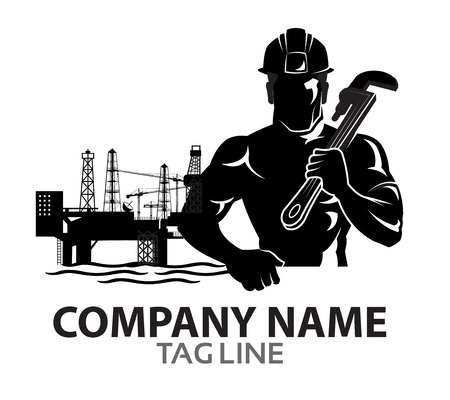 tough man: Oil Rig Company Logo Icon Graphics Illustration