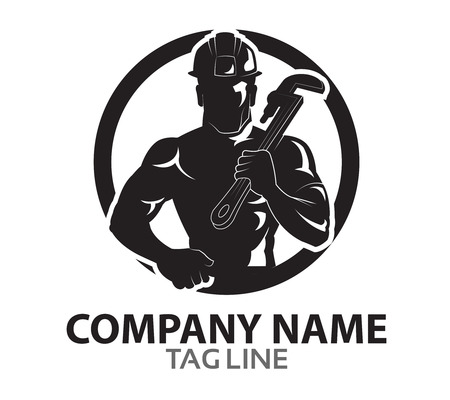 tough man: Oil Rig Worker Logo Illustration