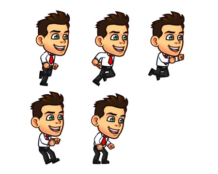 sequence: Vector Illustration of Businessman Cartoon Character Animation Sequence